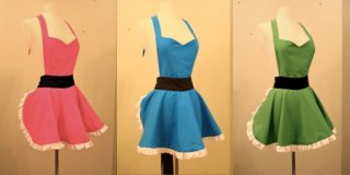 Nintendo and Powerpuff Girls aprons from Etsy seller DarkBalloons