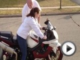 girl drops motorcycle CBR 600
