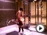 Roller Derby girl hula hooping fire